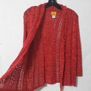 Ruby Rd Maroon Open Knitted Cardigan Sweater